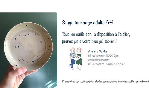 28 novembre 2020 - Stage TOURNAGE adulte 3H