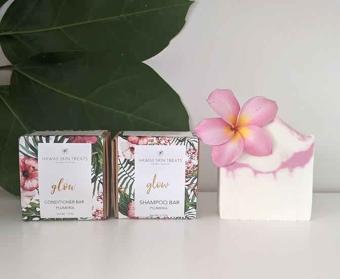 Tropical Shower Set - Plumeria Shampoo, Conditioner, and Soap