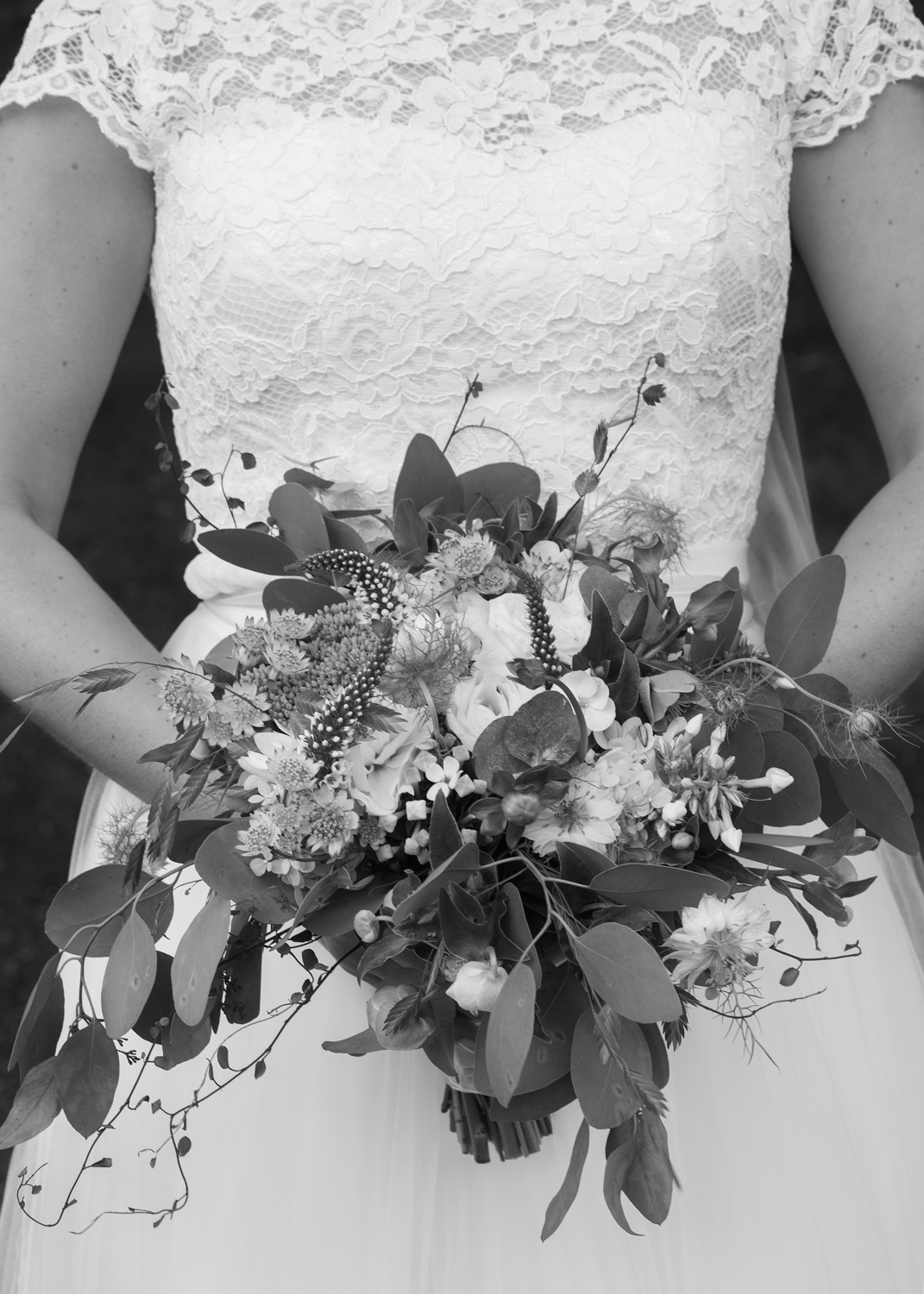 closeup of wedding bouquet