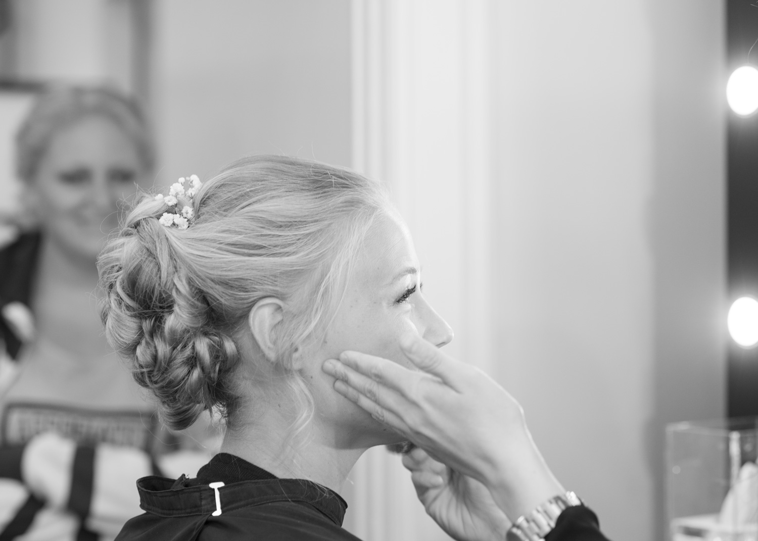 Bride getting ready on wedding day