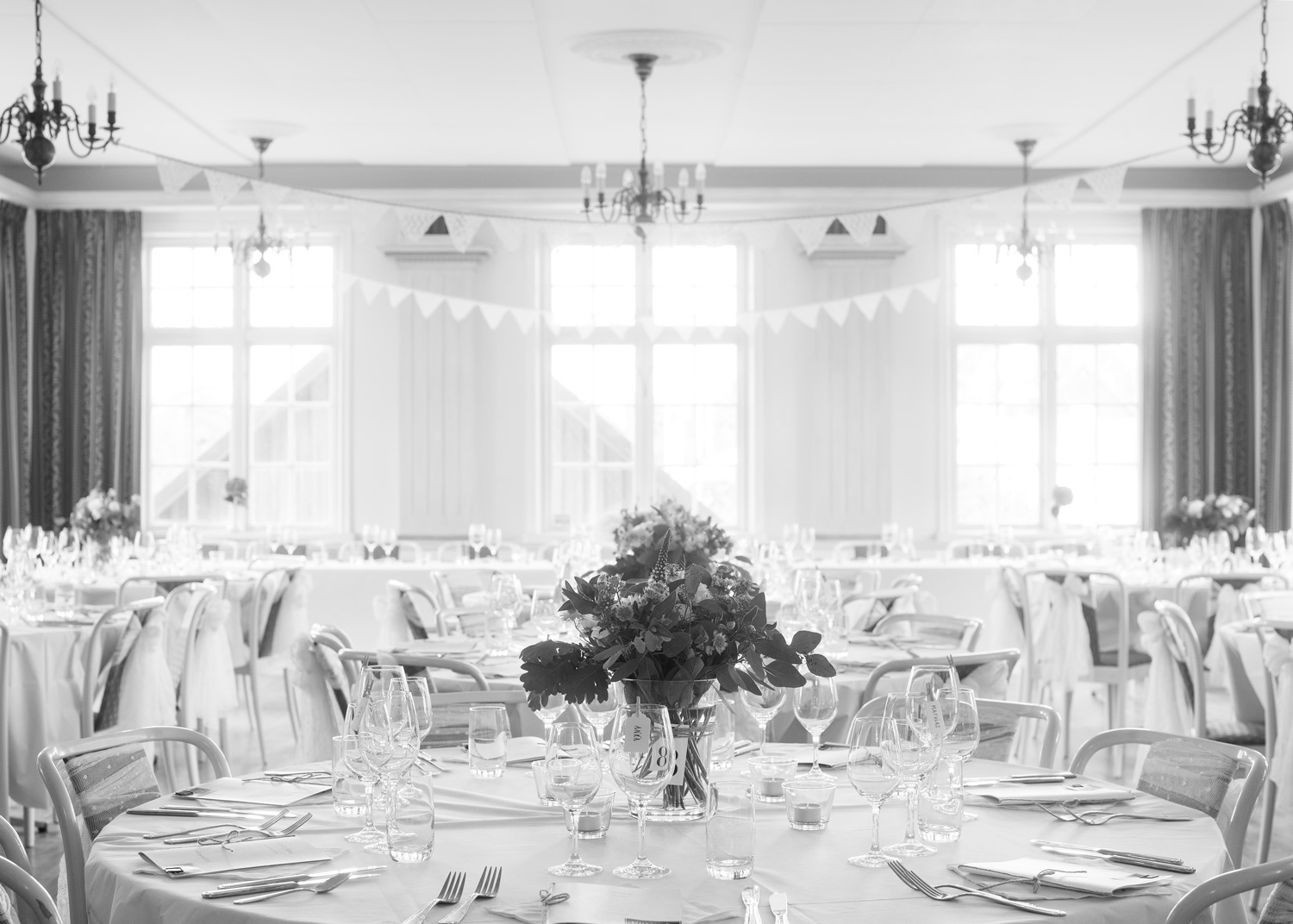 the set tables of reception room
