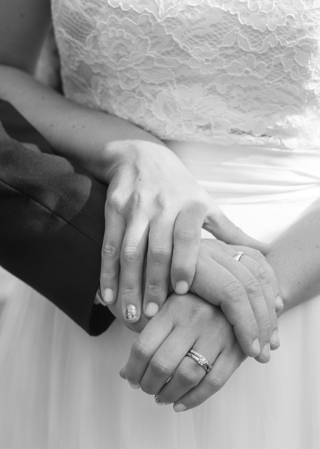 closeup of bride and groom hands