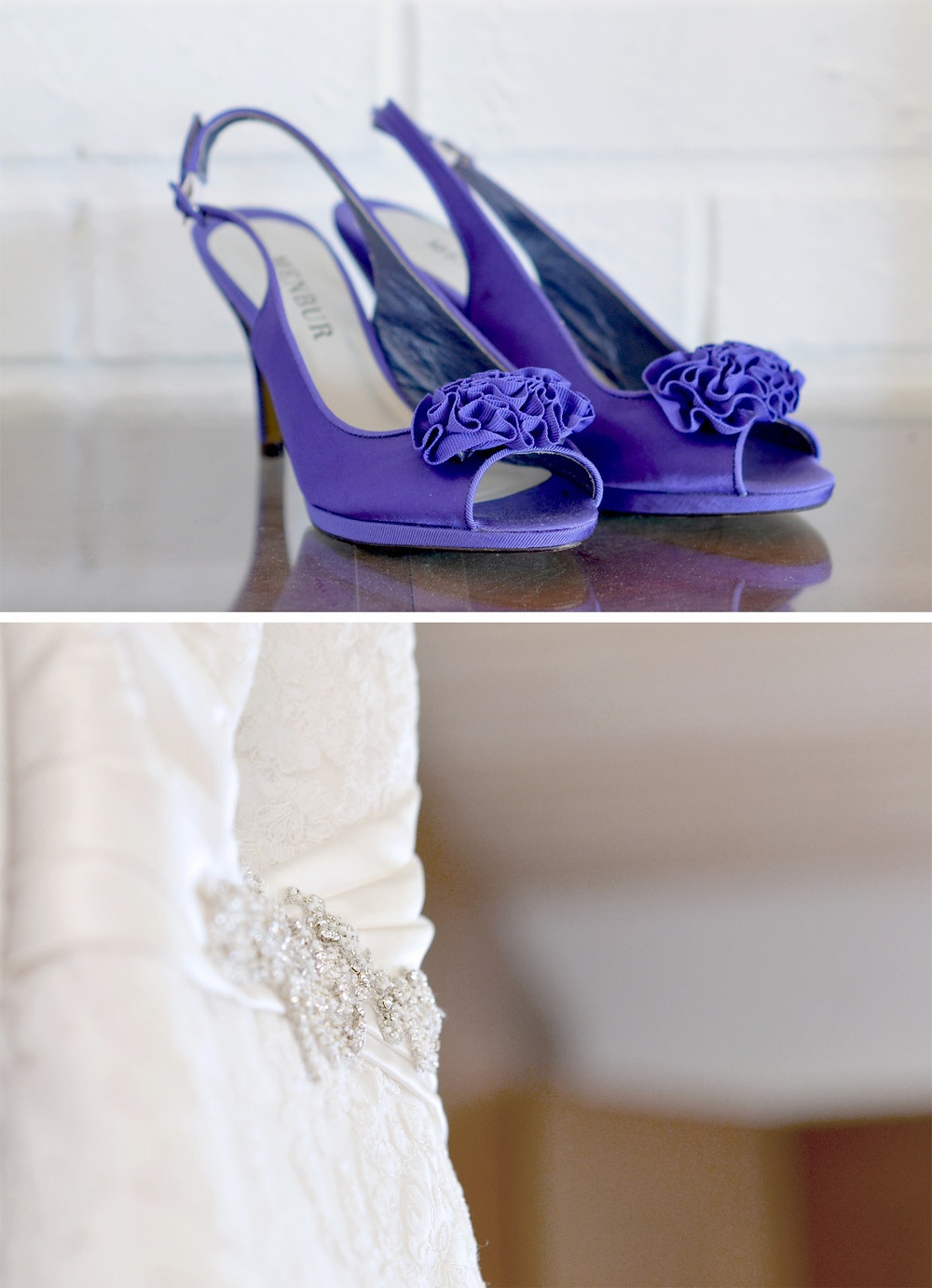 The bride wore purple shoes