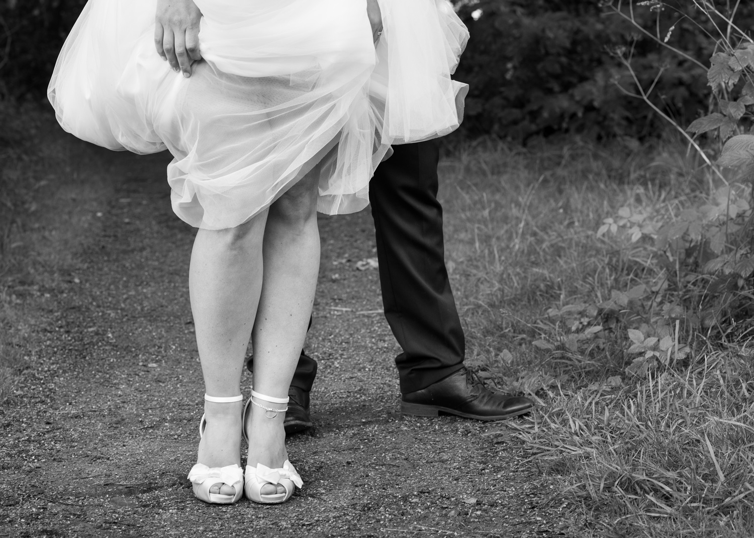 closeup of bride's legs