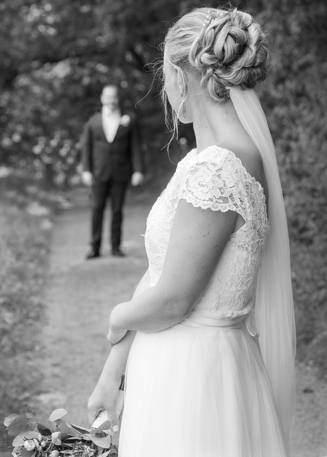 bride & groom on a path