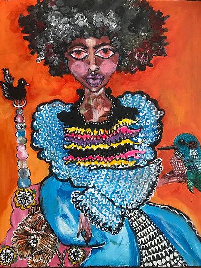 Girl with Bird Print