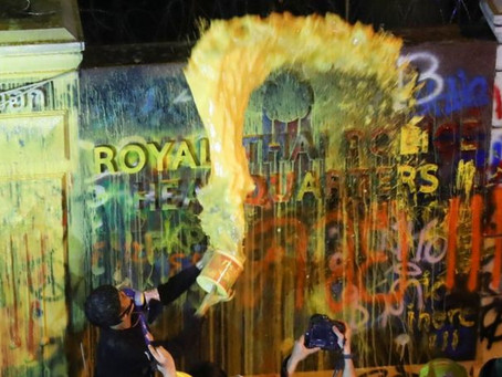 Paint as Weapon Against the Police in Bangkok, Royal Academy Drenched in Color, Quickly Painted Over