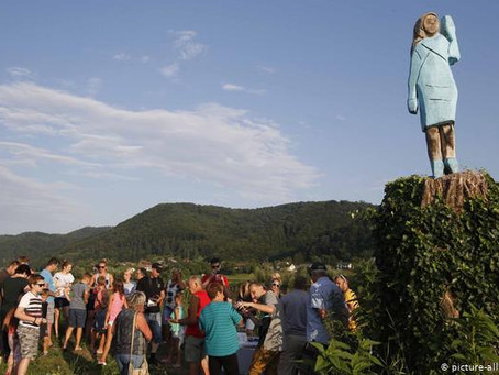 Melania Trump Burned in Effigy, then Bronzed, in her Home Town in Slovenia