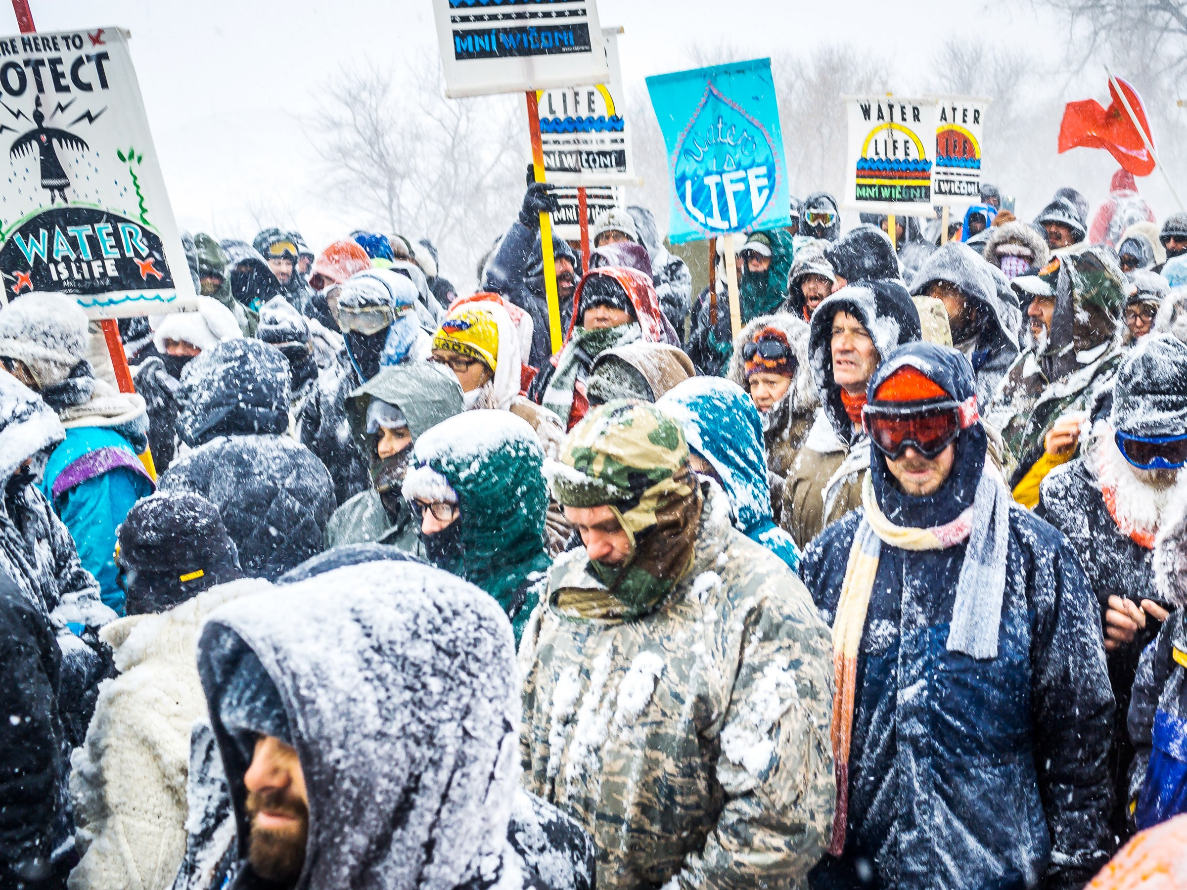 cold protest snow dakota pipeline