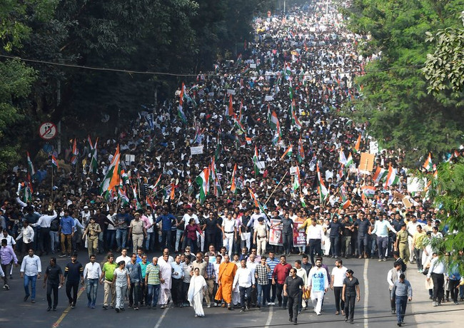 India protest leader march.jpg