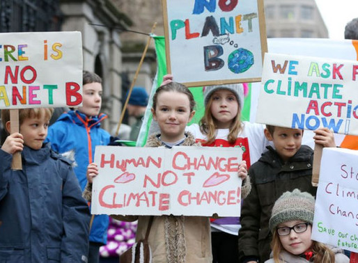 Large numbers of children participating in climate change inaciton protests across the globe.