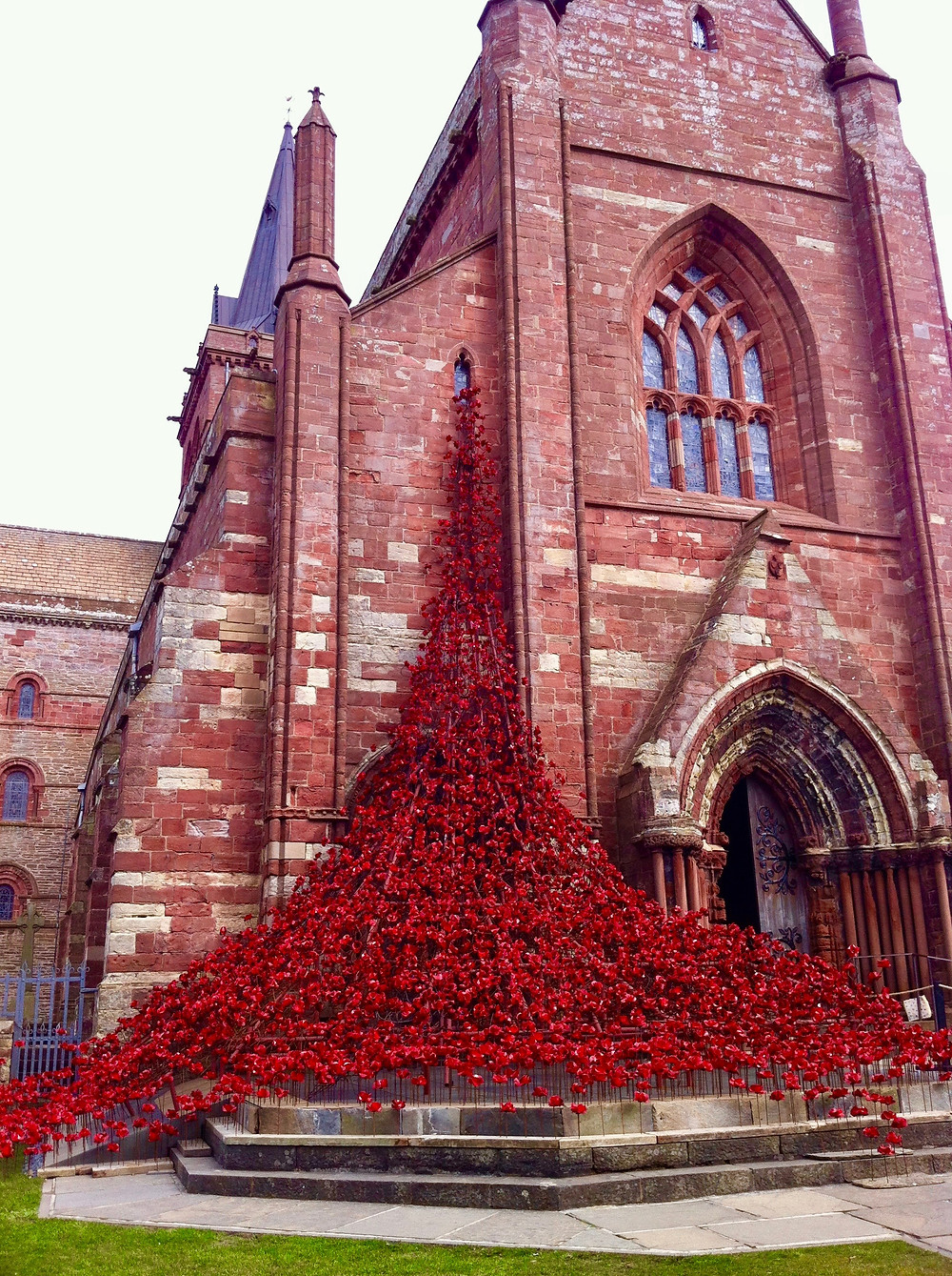 Art installation of poppies cascading from the top window of a church