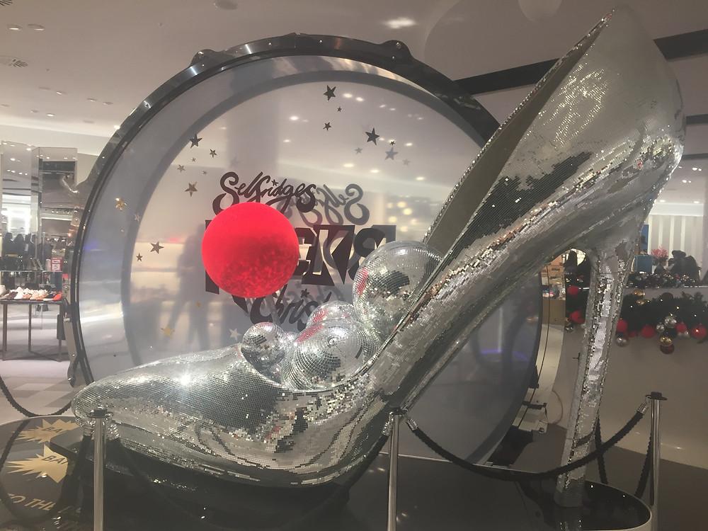 Glittery silver Cinderella shoe at Miss Selfridge, Birmingham
