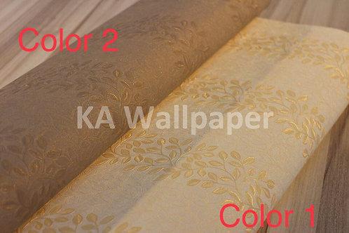 Leaves Deep Embossed Pattern Wallpaper