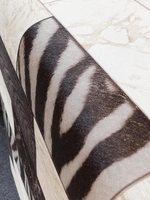 Zebra Wood Bricks Pattern Wallpaper