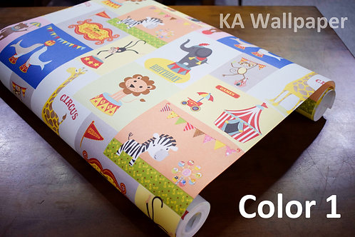Cartoon animals Kids Pattern Wallpaper