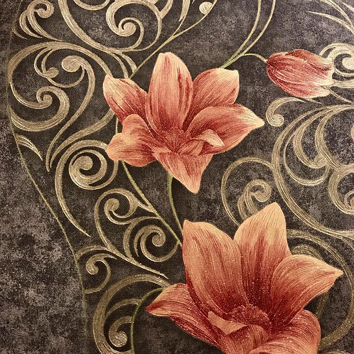 """Wallpaper floral design 21"""" X 10 meters long modern embossed touch"""