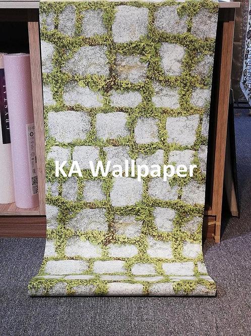 Rock-Grass Pattern Wallpaper