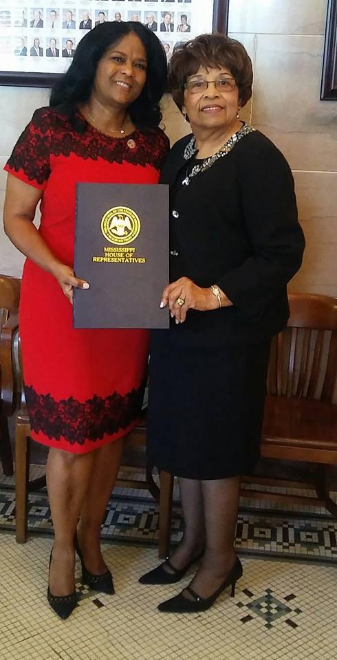 Representative Debra Gibbs honors Flonzie at Mississippi State Capitol.