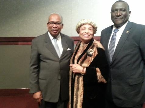 Ernest Green (Little Rock Nine), Philadelphia, MS Mayor James Young. and Flonzie.