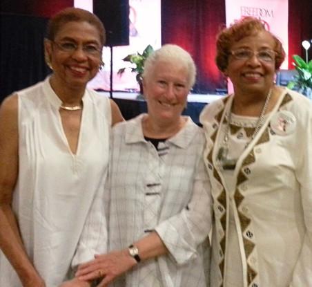 Congresswoman Eleanor Holmes Norton, Rita Schwerner Bender and Flonzie.
