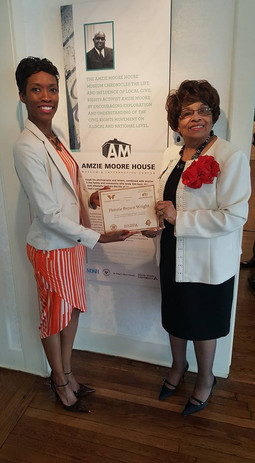 Certificate of Recognition presented by Dr. Temika Simmons of Delta State University and the Amzie Moore Home Museum.
