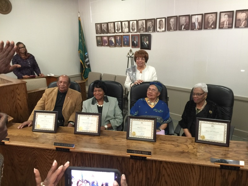 Flonzie and fellow Cantonians, Arthur Tate, Sr., Betty Robinson and Mary Nell Whisenton are honored at Canton, MS City Hall.
