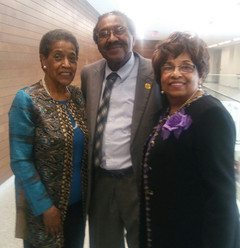 Mrs. Myrlie Evers, Representative Robert Clark and Flonzie.