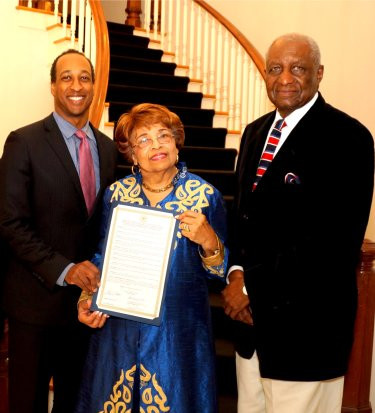 Councilmen Melvin Priester and Charles Tillman honors Flonzie at Jackson City Hall in recognition of her 50th anniversary celelbrating her historic election in 1968.