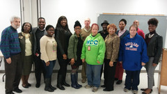 Flonzie speaks to students at Tougaloo C