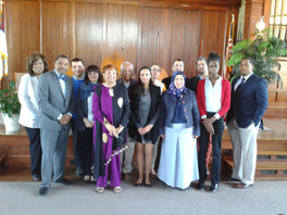 Flonzie with students visiting Tougaloo