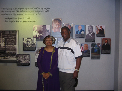 Mayor Charles Evers, brother of the late Medgar Evers and Flonzie at the Jackson Medgar Evers International Airport.