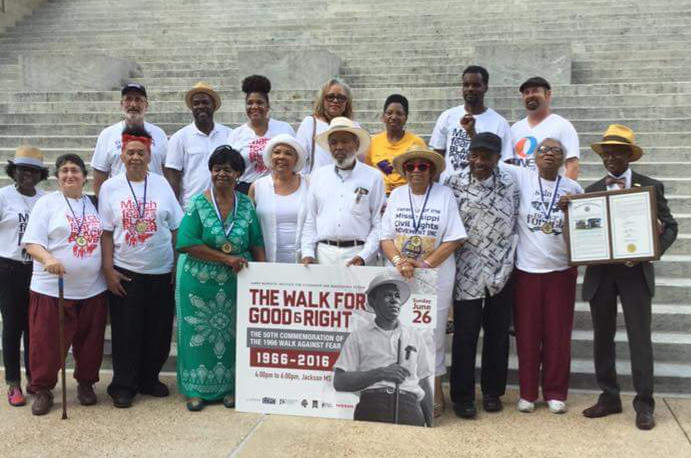Veterans of the Civil Rights Movement celebrating the 50th Anniversary of the March Against Fear on the steps of the Mississippi State Capitol.