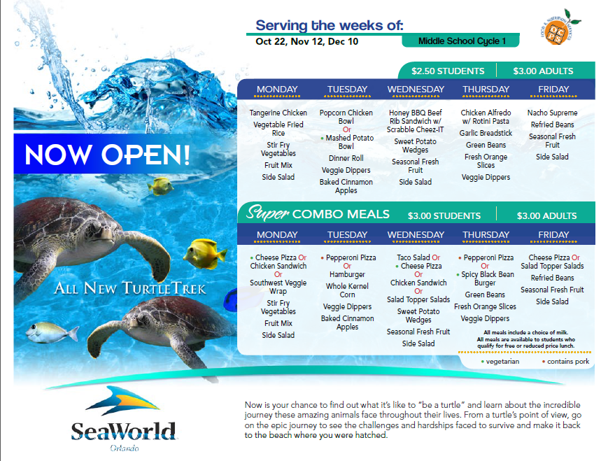 SeaWorld creates a customized menu template for school districts