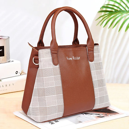 Women Leather Check Handbag