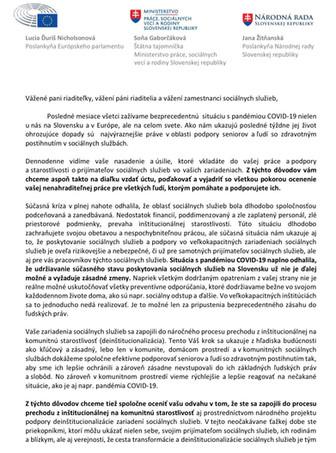 Podporný list vedeniu a zamestnancom zariadení sociálnych služieb