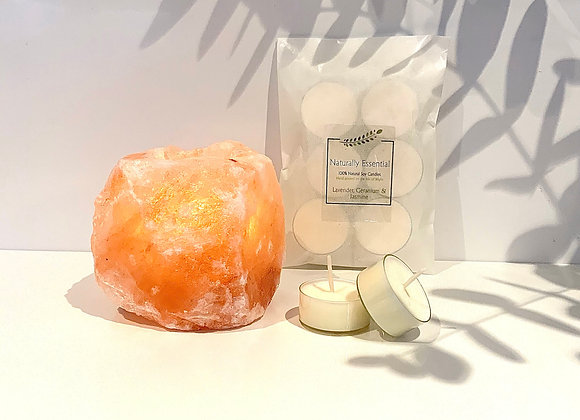 Himalayan Salt Crystal Tealight Holder & Tealights