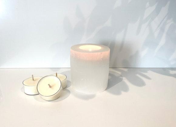 Selenite Tealight Holder & Tealights