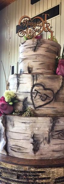 Tree bark wedding cake.JPG