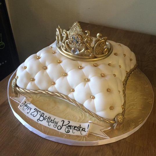 White Pillow cake with Gold Crown.JPG