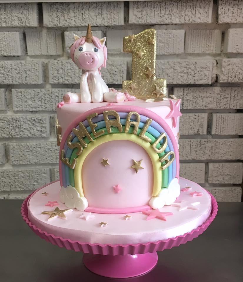 Rainbow Unicorn 1st birthday cake.JPG
