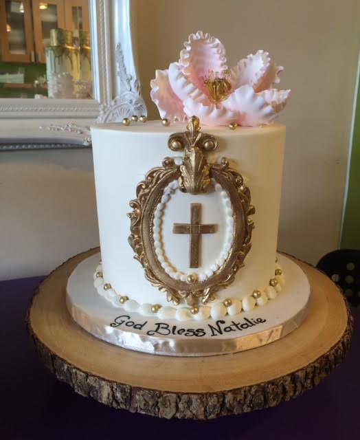 peony buttercream with gold cross
