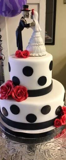 skeleton wedding cake with polka dots.jp