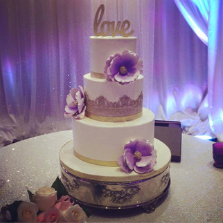 gold and lavender love wedding cake.jpg