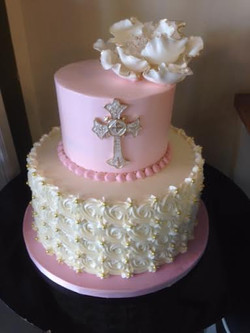 rosette white and pink with cross