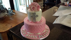 pink and white baptism