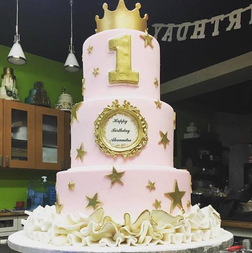 Pink and Gold Stars cake.JPG