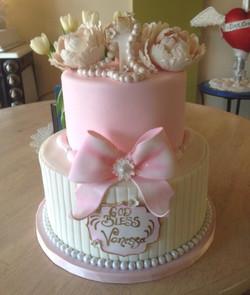 peony and pink baptism cake