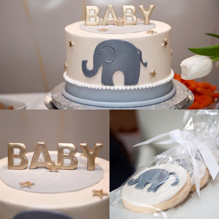 elephant themed baby shower cake and tre