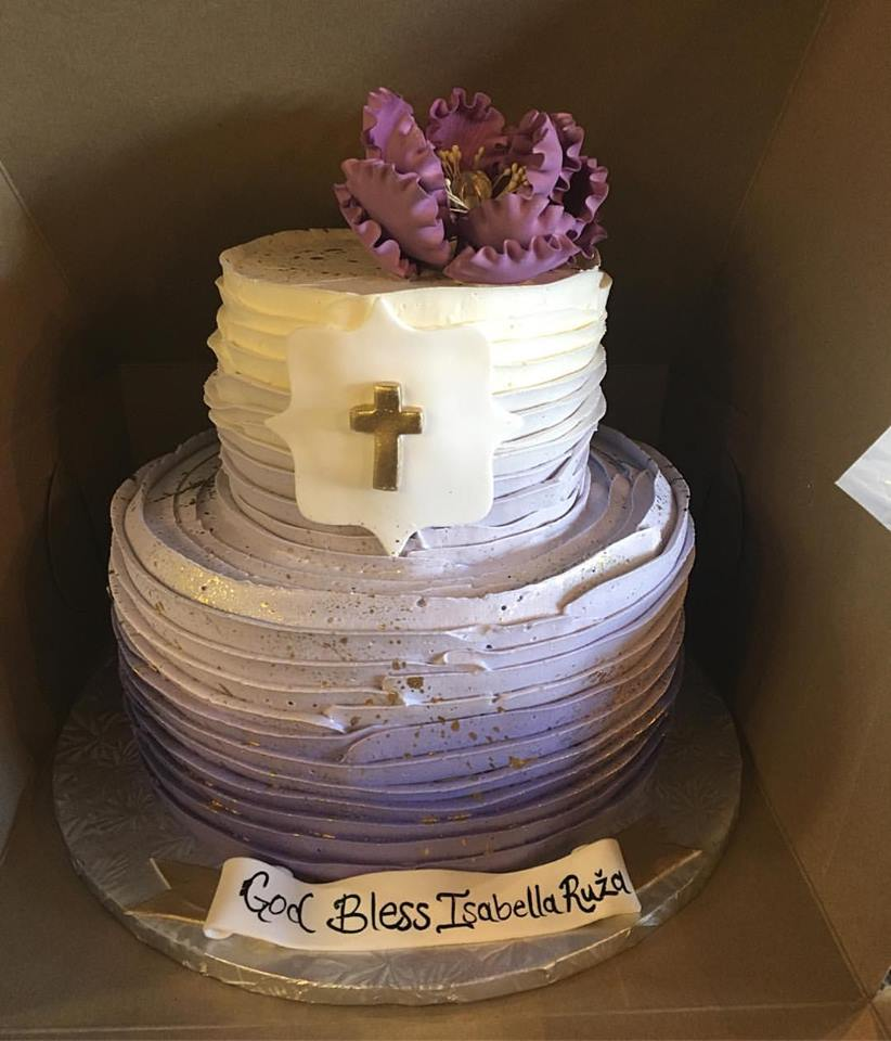 purple ombre baptism cake